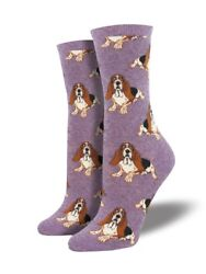 Basset Hound One Size Fits Most Heather Lavender Ladies Socks