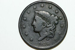 Fine 1836 Liberty Coronet Or Matron Modified Young Head Large Cent Coin Lrg683