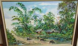 Philippine People On Mules Original Oil On Canvas Landscape Painting Unsigned