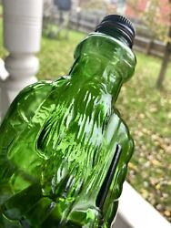 """Figural Emerald Green """"moses"""" Gin Bottle W/ Paper Label Lewiston Maine"""