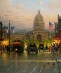 Handmade Oil Painting Repro Lone Star State Texas Capitol Building