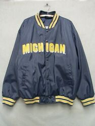 W4737 Large Menand039s Steve And Barryand039s Blue Michigan Snap Front Long Sleeve Coat