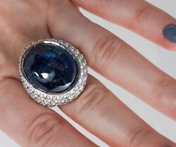 Custom Made 18K White Gold 44 Carat Total Sapphire and Diamond Ring