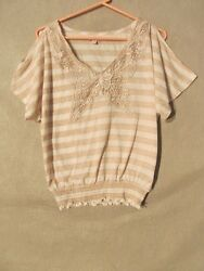S5367 Bongo Womens Large White Striped Butterfly Applique & Open Sleeve Knit Top