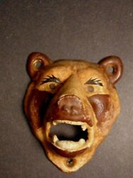 Vintage Cast Iron Painted Bear Head Wall Mounted Bottle Opener