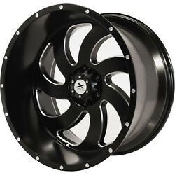 24x14 Black Milled Xtreme Force XF1 Wheels 8x170 -76 Lifted Fits Ford F-350