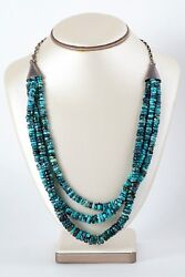 Old Pawn Sterling Silver Three Strand Fine Quality Turquoise Bead Necklace