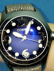Corum Boutique Bubble Watch Blue Face Leather Menand039s Jewelry 163.150.20 Swiss Wr