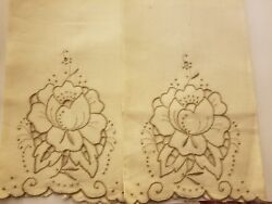 2 Vintage Unused Linen Hand Embroidered Madeira Floral Roses Hand Towels W Tags