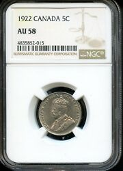 1922 CANADA 5C NGC AU 58 (ABOUT UNCIRCULATED 58) CANADIAN 5C COIN OW3