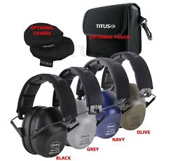 Titus Top 2-series 34 Nrr Safety Earmuff And Glasses Combos With Pouches