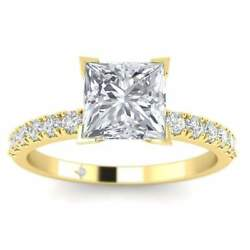 Yellow Gold Micro Pave 4-Prong Square Princess Cut Diamond Engagement Ring - 2.0