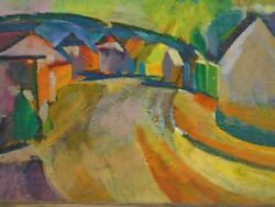 Road Through A Village Fauvist/expressionist Oil Painting-1960/70s-i.l. Winarsky