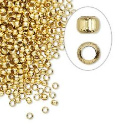 100 Bright Gold Brass Tiny 2.5mm Squeeze Crimps Crimp Beads Findings