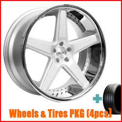4pcs 20 Staggered Azad Az008 Silver With Chrome Wheels And Tires