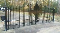 Wrought Iron Style Steel Driveway Gate 14and039 Wd Home Security Veterans Discount