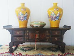 Altar Table Vtg Chinese Wood Cabinet Display Antique Furniture Buddha Temple Art