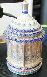 Chinese Silver Cloisonne Enamel And Stones Temple Shape Canister Caddy Jar Box