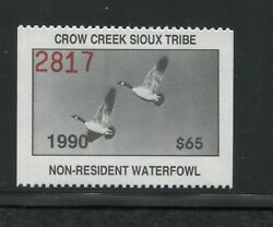 1990 Crow Creek Sioux Indian Reservation Waterfowl Stamp 10 Mint Never Hinged