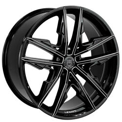 20 Staggered Wheels And Tires Lexani Venom Gloss Black Machined Accents