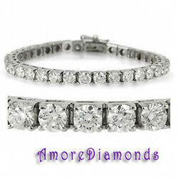 10.00 CTW F VS12 ROUND DIAMOND TENNIS BRACELET 18K WHITE GOLD 7