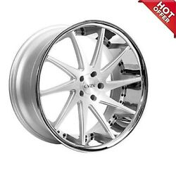 Qty4 20 Staggered Azad Wheels Az23 Silver Machined With Chrome Lip Special