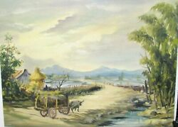 Philippine Mules Wagon Original Oil On Board Landscape Painting Unsigned
