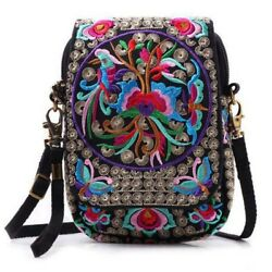 Women Shoulder Bag Travel Pouch Floral Embroidered Crossbody Bag Purse US Stock