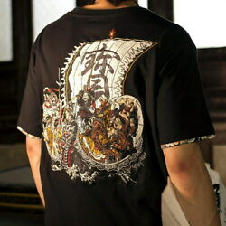 Mens T-shirt Japanese Pattern Embroidery Seven Lucky Gods Fortune Treasure Boat