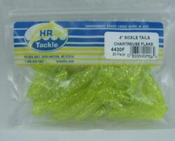 Haw River 4430f Sickle Tail Grub 4 Color Chartreuse Flake 20ct 24430