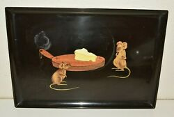 Vintage Mice Mouse Courac Black Cheese Mcm Cocktail Serving Tray Monterey Ca 18