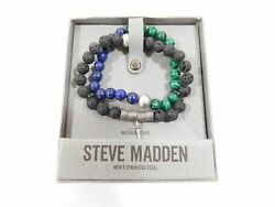 STEVE MADDEN STAINLESS STEEL ROCK BEADED BRACELET CROSS CHARM STRETCH SET BEADS