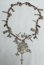 Best Antique Guatemala Chachales Sterling Silver Coin And Coral Necklace
