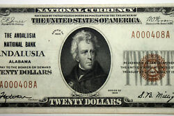 20.00 Type 1 National Currency Andalusia Alabama About Uncirculated A000408a