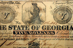 The State Of Georgia 5.00 Confederate Note Banks Of Savannah And Augusta 116405