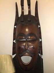 African Wooden Vintage Mask From The Ivory Coast 56 Inches T 17 -3/4 Inches W