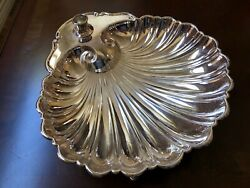 Mid Century Silver Plated Footed Scalloped Shell Server Bowl Dish Candle Holder