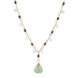 Gemstone Drop Necklace Vintage 22k Yellow Gold Estate Fine Jewelry Pre Owned