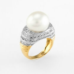 Cultured South Sea Pearl Diamond Cocktail Ring Vintage 18k Yellow Gold Estate
