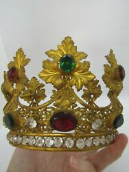 Impressive Large French Multi Colored Stones Jeweled Antique Saints Crown