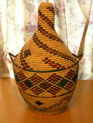 Large Vintage Colorful Coiled African Coiled Storage / Wedding Basket 24 Inches