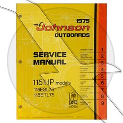 Johnson Outboard 1975 115hp 115esl75 115etl75 Factory Repair Shop Service Manual