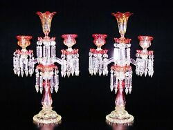 PAIR OF ANTIQUES  TWO LIGHT & VASE BACCARAT AMBERINE  CANDELABRA  CANDLE HOLDER