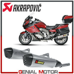Pair Of Titanium Exhaust Approved Mufflers Akrapovic For Bmw K1600gt 2011 2020