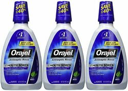 Orajel Antiseptic Mouth Sore Rinse 16 Ounce Pack of 3