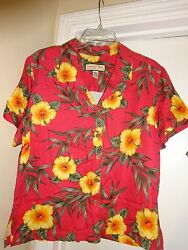 JAMAICA BAY Ladies Womans Size Large Coral wYellow flowers Button Front Blouse