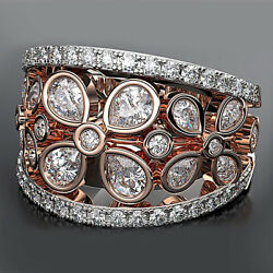 1.50 Ct Diamond Floral Engagement Vintage Style Band Ring 14K Tow-Tone Gold