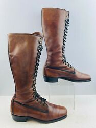 Men's Frye Vintage Brown Leather 20 Eye Lace-up Riding Boots Size 10 D
