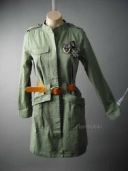 Military Army Green Surplus Belted Cargo Russian German Coat 297 Mv Jacket S M L