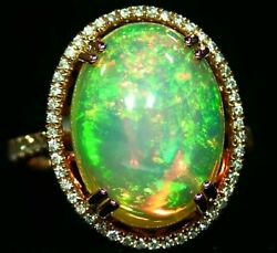 7.06CT 14K Gold Natural Ethiopian Opal Diamond Designer Halo Vintage Retro Ring